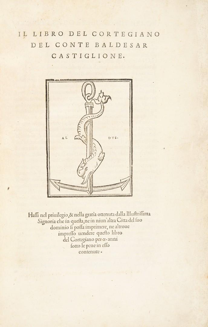 Castiglione, Baldassarre Il libro del cortegiano del conte Baldesar Castiglione.