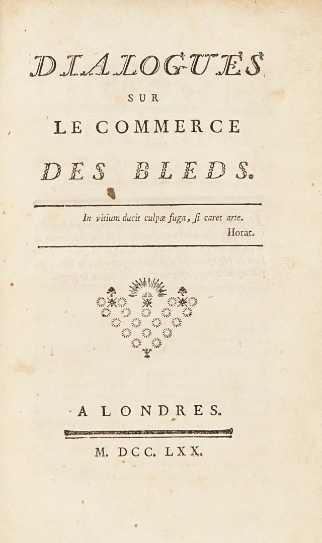 Galiani, Ferdinando Dialogues sur le commerce des bleds.