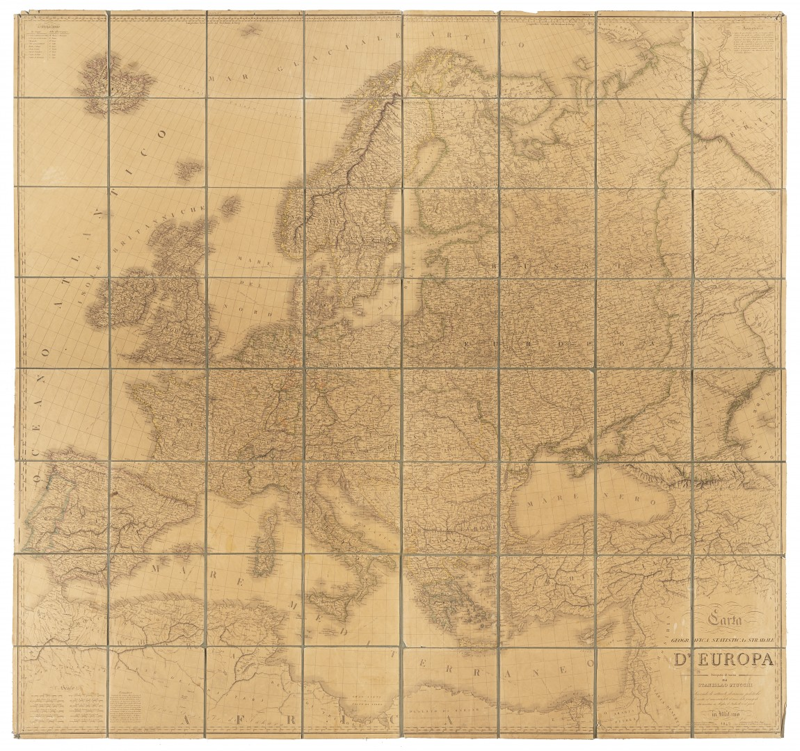 Stucchi, Stanislao Carta geografica statistica e stradale d'Europa.