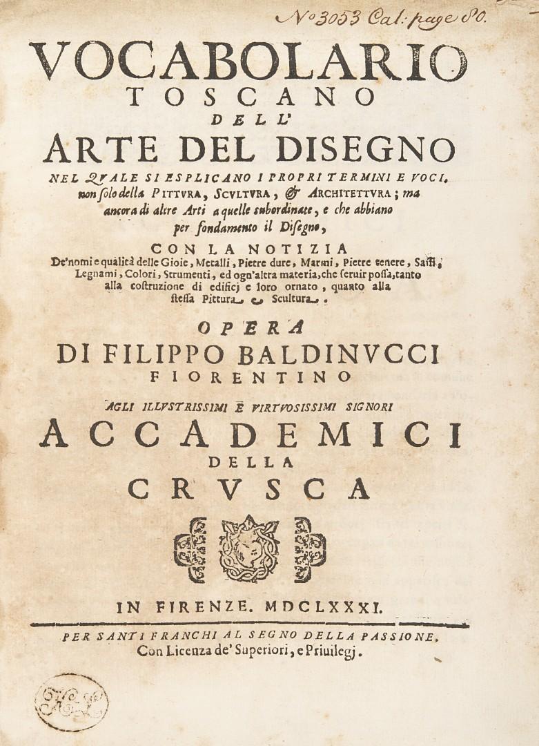 Baldinucci, Filippo Vocabolario toscano dell'arte del disegno. - Image 2 of 2