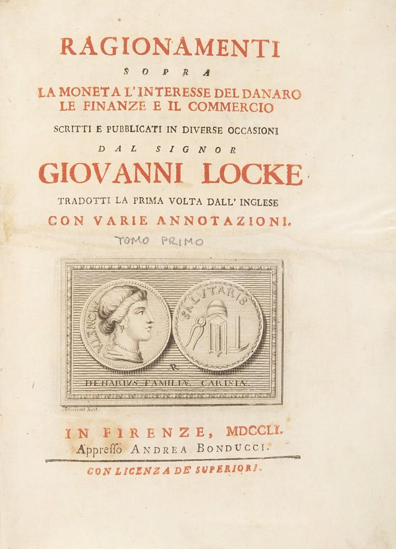 Locke, John Ragionamenti sopra la moneta, l'interesse del danaro, le finanze e il commercio.