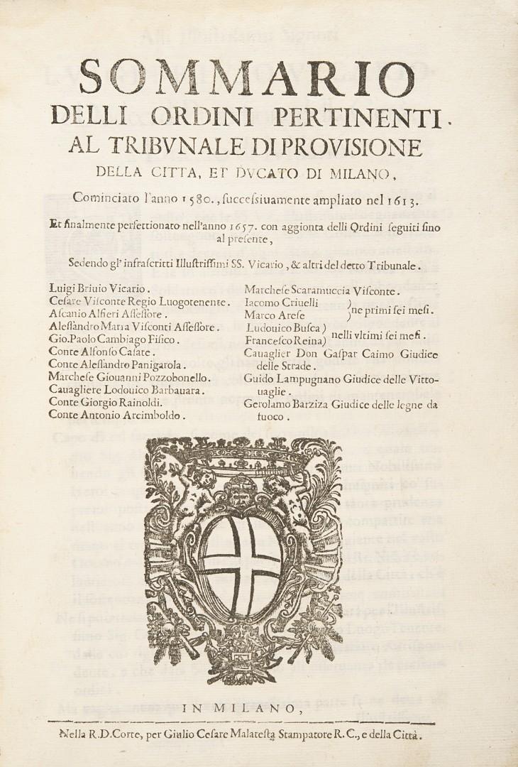 Sommario delli ordini pertinenti al tribunale di provisione della citta, et ducato di Milano.