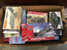 A box of Matchbox, Revell, Airfix, Mattel monogram model kits, various