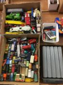 Two boxes of various Die Cast vehicles; Lledo, Matchbox, Lesney etc., plus a quantity of rail