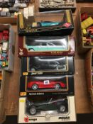 Five boxed Die Cast Guiloy, Burago, Maisto, Road Legend 1:18 scale etc.