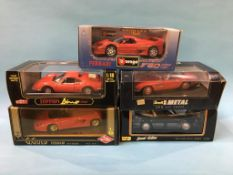 Five boxed Die Cast cars 1:18 scale, Guiloy, Revell, Maisto and Burago
