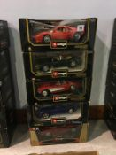 Five Burago 1:18 scale Die Cast cars