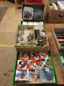 Quantity of Die Cast model aircraft, Tonka, Airfix etc., in five boxes