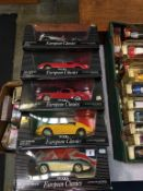 Five Ertl European Classics 1:18 scale Die Cast metal cars