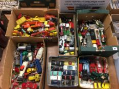 Six boxes of Die Cast toys etc.