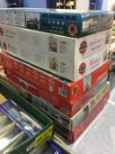 Seven large Airfix, Revell and Mini model kits, including HMS Illustrious, USS Arizona and Harbour