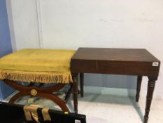 Mahogany footstool and one other