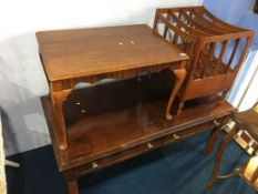 Two mahogany coffee tables and a Canterbury