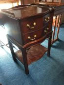 Mahogany serpentine two drawer bedside cabinet