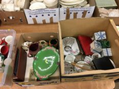 Two boxes of assorted including a taza, gurgling jug, cutlery etc.