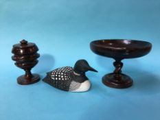 Treen, a taza, a tobacco jar and a decoy duck
