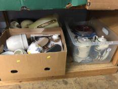Shelf of assorted including Spode china, collectors plates etc.