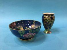 A Crown Devon lustre vase and a Maling lustre bowl (2)