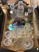 Assorted glassware including decanters, paperweights etc.