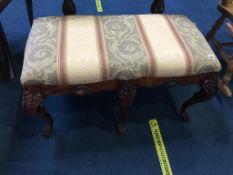 Georgian style mahogany footstool, on six legs