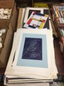 Collection of lino prints, prints, etchings etc.