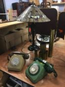 Tiffany style lamp, two GPO telephones and brass shell cases