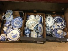 Three boxes of blue and white china