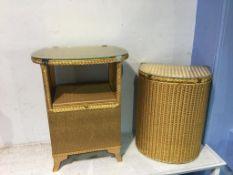 Gold Lloyd Loom bedside cabinet and linen basket