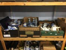 Three boxes including blue and white china