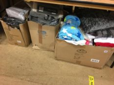 Three boxes of as new towels, throws etc.