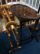 Oak twist occasional table, towel rail and a mahogany tray