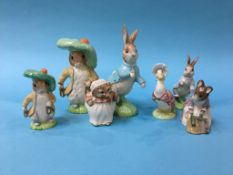 Two large and five small Beswick Beatrix Potter figures (7)