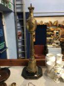 A gilt metal table lamp