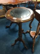 Mahogany plant stand, with inset marble top
