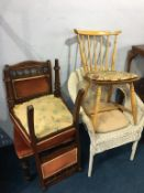Pair of Edwardian chairs, a kitchen chair and a Lloyd Loom chair (4)