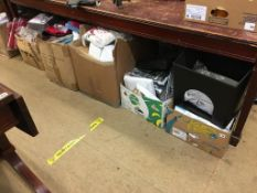 Seven boxes of assorted new throws, bed covers, seat covers etc.
