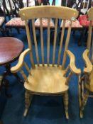 Beech slat back rocking chair