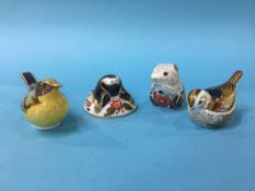 Four Royal Crown Derby paperweights, three with gold stoppers, 'Yellow wagtail', with silver