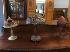 Three Tiffany glass style table lamps