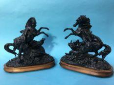Impressive pair of Spelter figure groups