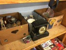 Three boxes of assorted and a mantle clock
