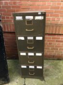 Green tin filing cabinet