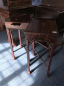 Pair of reproduction Georgian style side tables, with candle slides