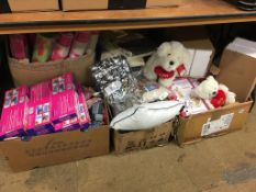 Five boxes of as new novelties, cushions, throws etc.