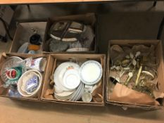 Five boxes of assorted china and glassware etc.
