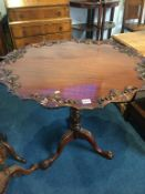 Reproduction mahogany Georgian style tripod table
