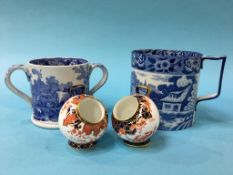 Pair of Royal Crown Derby salts, a Loving cup and a transfer print tankard
