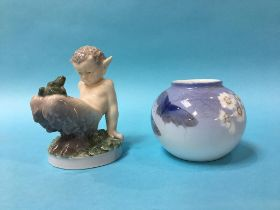 A Royal Copenhagen figure of a fawn with a frog, together with a small Royal Copenhagen bowl