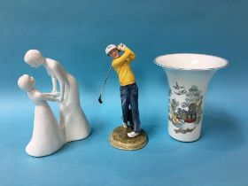A Royal Doulton figure 'Teeing off', a Coalport figure group and a Wedgwood vase (3)