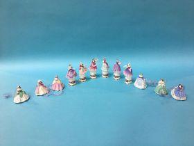 A collection of Coalport miniature figures (12)